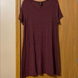 Forever 21 Maroon Striped Tshirt Dress, XL